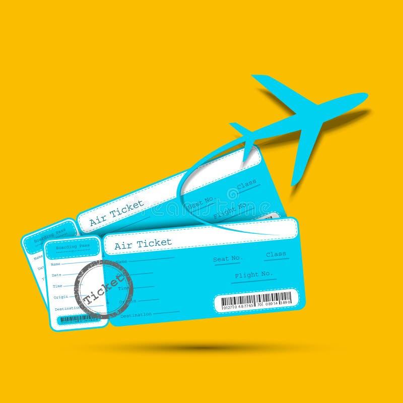Εισιτήριο πτήσης με το αεροπλάνο διανυσματική απεικόνιση