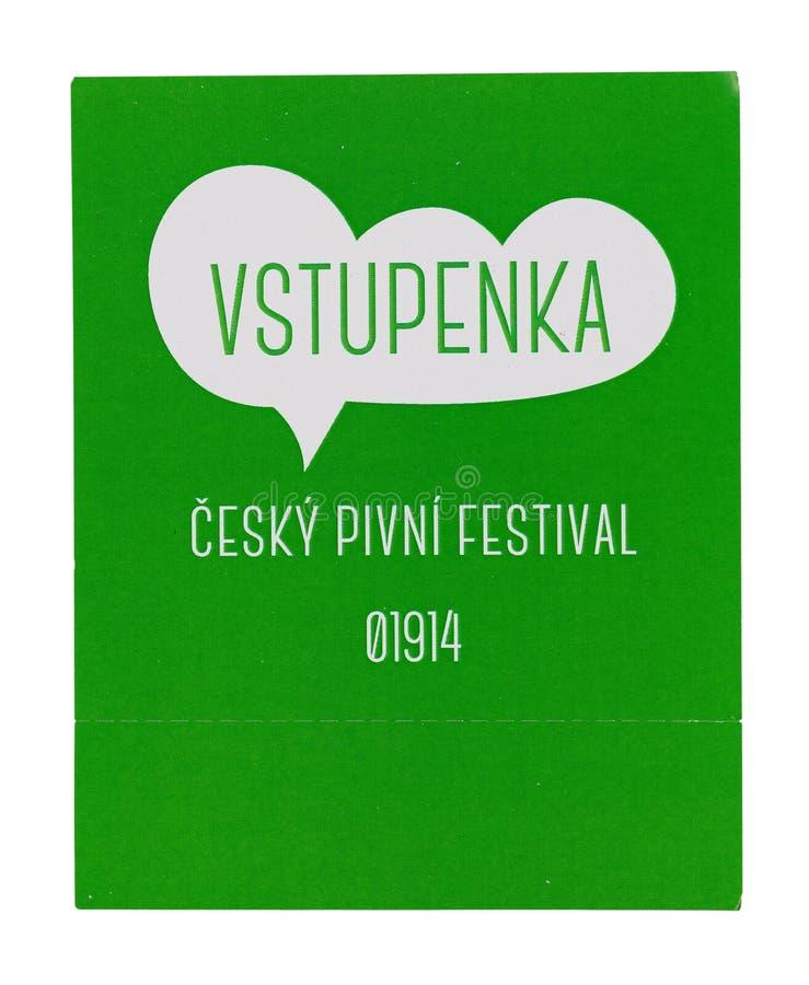 Εισιτήριο στο τσεχικό φεστιβάλ μπύρας Απομονώστε στην άσπρη ανασκόπηση στοκ εικόνες