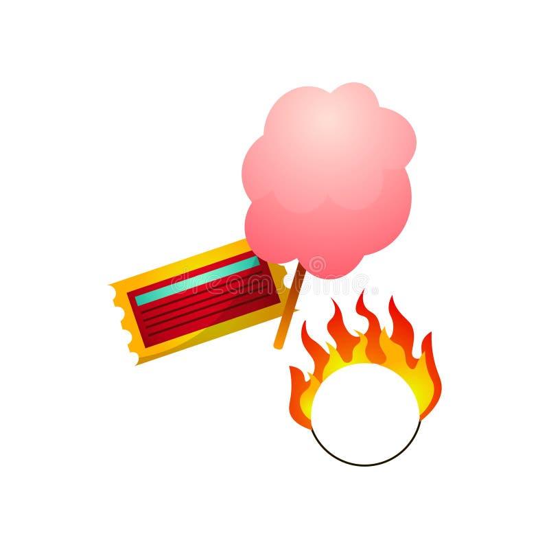 Εισιτήριο τσίρκων, καραμέλα βαμβακιού ζάχαρης και καίγοντας κύκλος πυρκαγιάς διανυσματική απεικόνιση