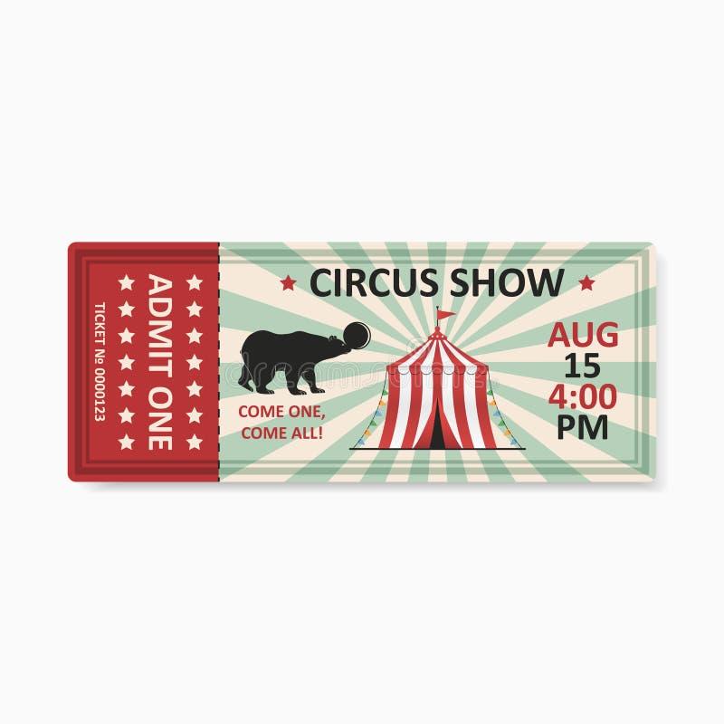Εισιτήριο τσίρκων στο εκλεκτής ποιότητας σχέδιο Το πρότυπο για το εισιτήριο εισόδων στο τσίρκο παρουσιάζει στο αναδρομικό ύφος δε διανυσματική απεικόνιση