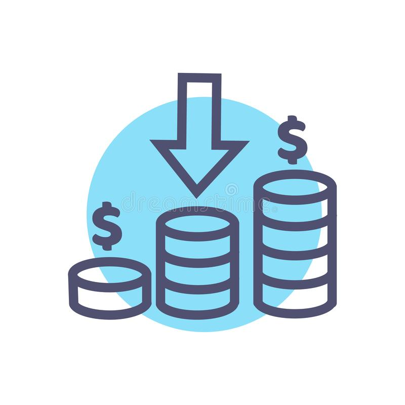 Εισοδηματικό εικονίδιο διανυσματικό σύμβολο εισοδηματικών σημαδιών με το διάνυσμα σημαδιών δολαρίων και βελών νομισμάτων απεικόνιση αποθεμάτων