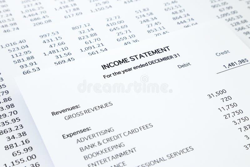 Εισοδηματική δήλωση μικρών επιχειρήσεων στοκ φωτογραφία με δικαίωμα ελεύθερης χρήσης