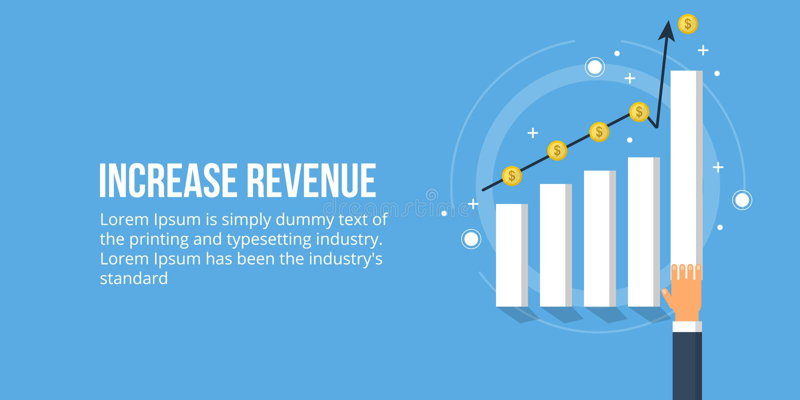 Εισόδημα αύξησης - αύξηση επιχειρησιακού κέρδους - γραφική παράσταση πωλήσεων Διανυσματικό επιχειρησιακό έμβλημα ελεύθερη απεικόνιση δικαιώματος