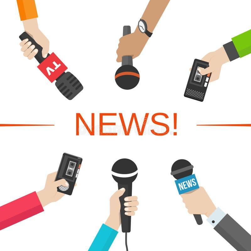 Ειδήσεις, έννοια δημοσιογραφίας Χέρια με τα μικρόφωνα απεικόνιση αποθεμάτων