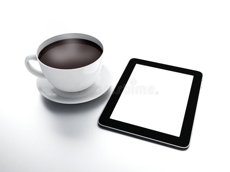 Ειδήσεις πρωινού Φλυτζάνι καφέ με το PC ταμπλετών στο λευκό που απομονώνεται backgr διανυσματική απεικόνιση