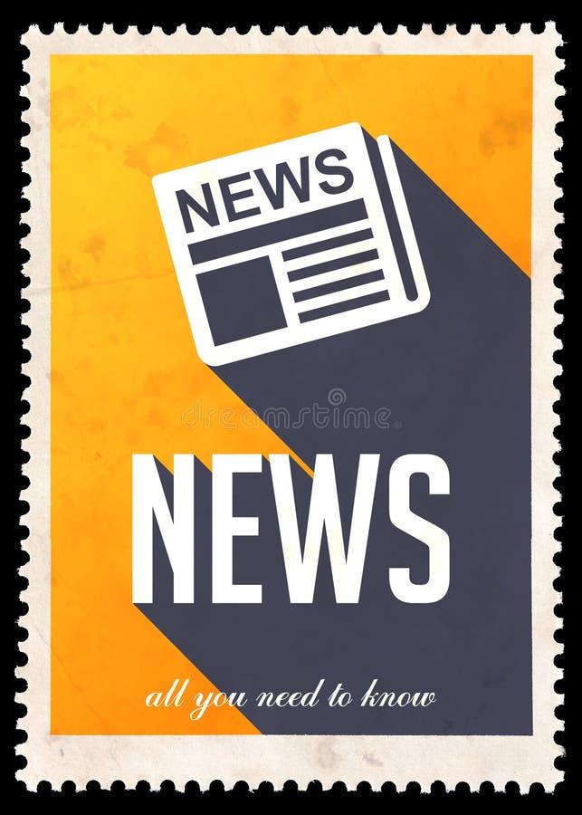Ειδήσεις σε κίτρινο στο επίπεδο σχέδιο. απεικόνιση αποθεμάτων