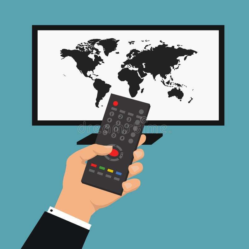 Ειδήσεις του κόσμου Διανυσματική απεικόνιση με το χέρι που κρατά τον τηλεχειρισμό Διανυσματική έξυπνη έννοια TV στοκ φωτογραφίες με δικαίωμα ελεύθερης χρήσης