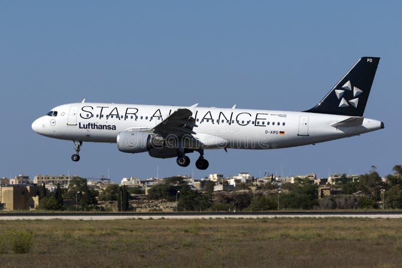 Ειδικό airbus της Lufthansa χρώματος σχεδίου στοκ φωτογραφίες
