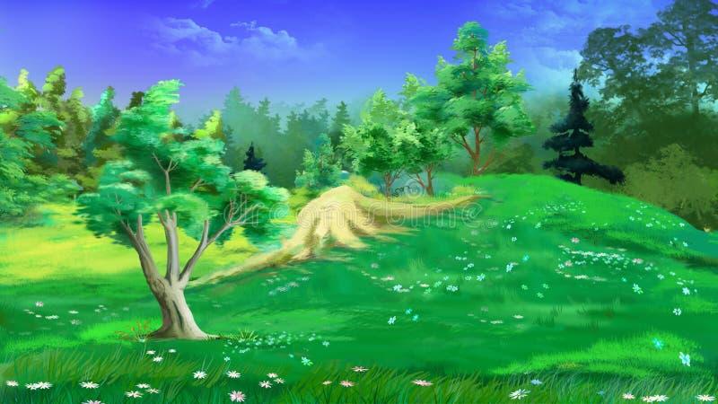 Ειδυλλιακό θερινό τοπίο με τη χλόη και τα λουλούδια ελεύθερη απεικόνιση δικαιώματος
