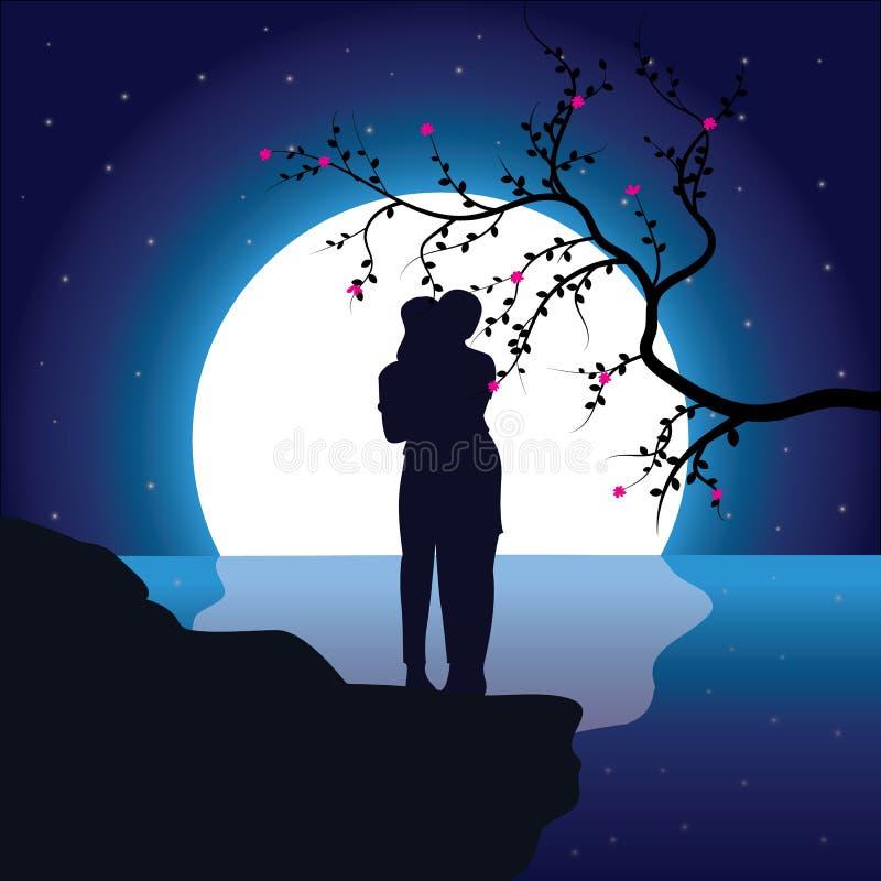 Ειδύλλιο κάτω από το φεγγάρι, διανυσματικές απεικονίσεις στοκ εικόνες