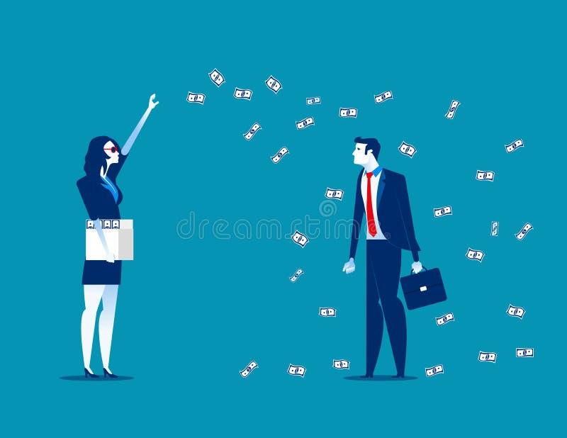 Εκατομμυριούχος που ρίχνει τα χρήματα Επιχειρησιακή διανυσματική απεικόνιση έννοιας ελεύθερη απεικόνιση δικαιώματος