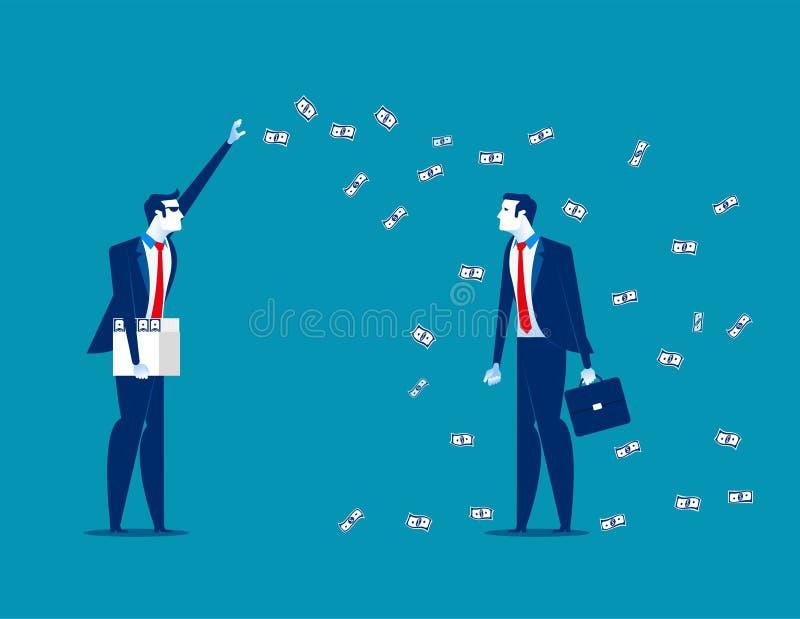 Εκατομμυριούχος που ρίχνει τα χρήματα Επιχειρησιακή διανυσματική απεικόνιση έννοιας απεικόνιση αποθεμάτων