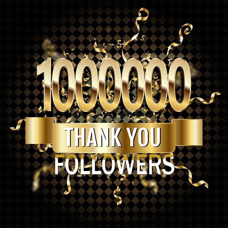 1 εκατομμύριο οπαδοί σας ευχαριστούν χρυσή απεικόνιση αριθμού περικοπών εγγράφου Ειδικός εορτασμός στόχου χρηστών για 1000000 κοι ελεύθερη απεικόνιση δικαιώματος