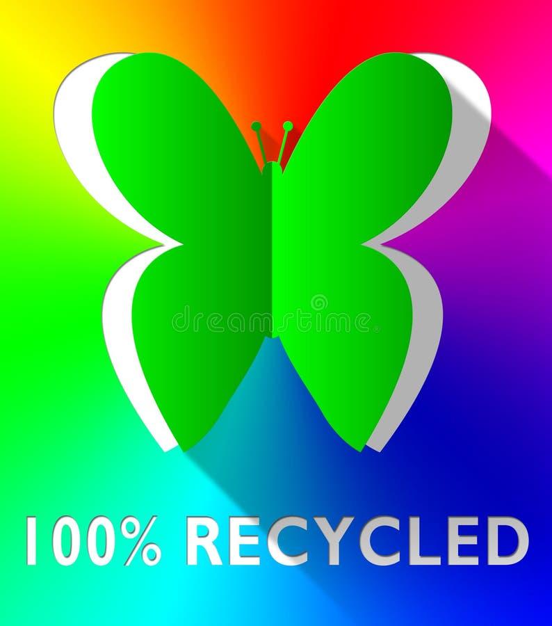 Εκατό ανακυκλωμένης τοις εκατό απεικόνισης πεταλούδων πράσινης τρισδιάστατης διανυσματική απεικόνιση