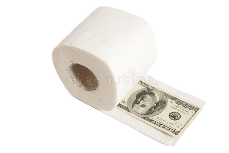 Εκατό δολάρια στο χαρτί τουαλέτας στοκ εικόνες με δικαίωμα ελεύθερης χρήσης