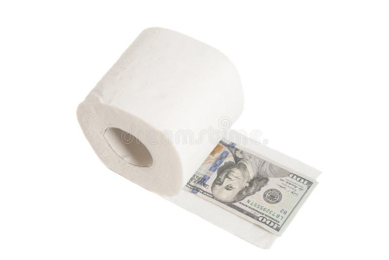 Εκατό δολάρια στο χαρτί τουαλέτας στοκ φωτογραφία με δικαίωμα ελεύθερης χρήσης