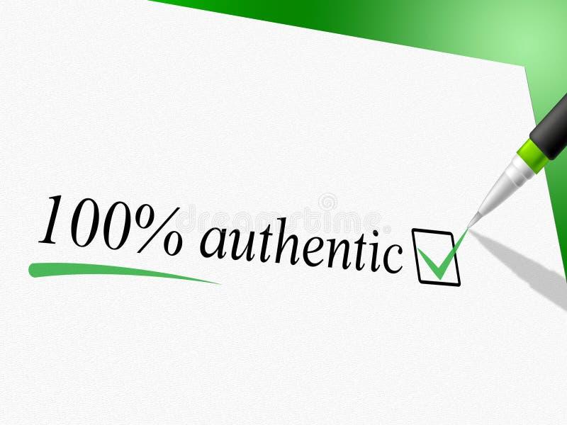 Εκατό τοις εκατό αυθεντικός αντιπροσωπεύει αξιόπιστος και πραγματικός διανυσματική απεικόνιση