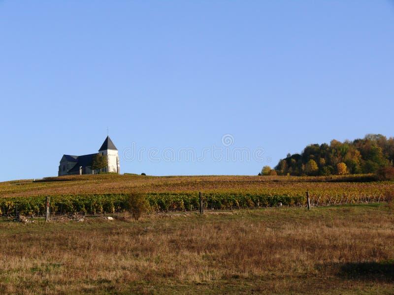 Εκκλησία Αγίου Martin de Chavot κοντά σε Epernay στους αμπελώνες CHAMPAGNE το φθινόπωρο στοκ φωτογραφία