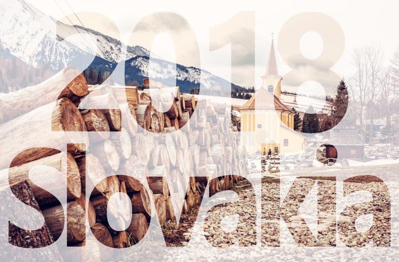 Εκκλησία και ξύλινες ακτίνες σε Zdiar, Σλοβακία, PF 2018 απεικόνιση αποθεμάτων