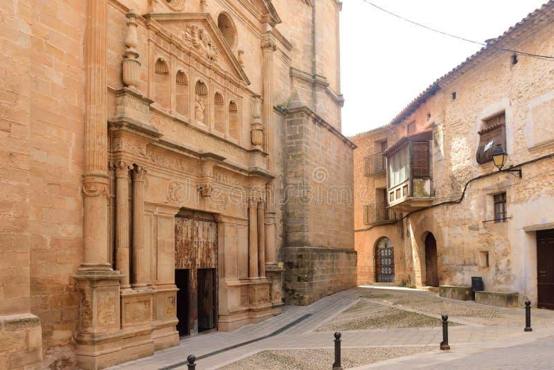 Εκκλησία Λα Asuncion Cretas, Teruel επαρχία, Αραγονία, Ισπανία στοκ εικόνες