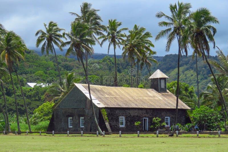 Εκκλησία σε Keanae, δρόμος στη Hana, Maui, Χαβάη στοκ φωτογραφία