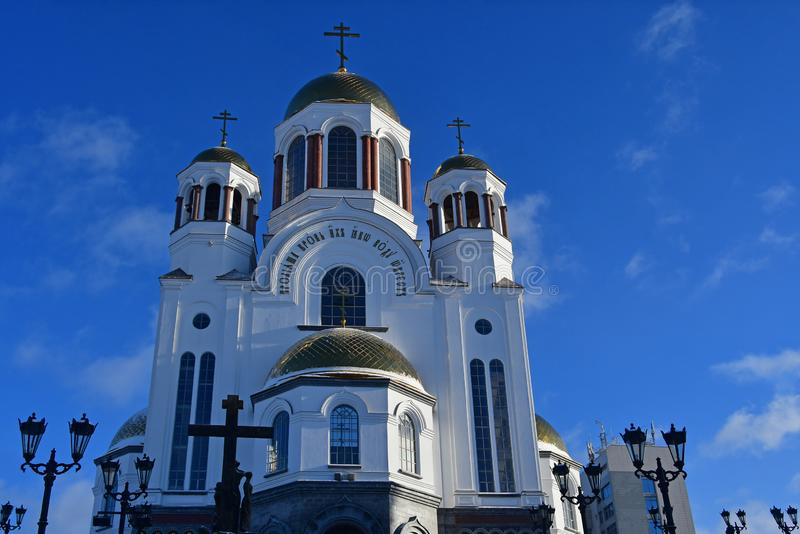 Εκκλησία στο αίμα προς τιμή όλους τους Αγίους λαμπρούς στο ρωσικό έδαφος yekaterinburg Ρωσία στοκ εικόνα με δικαίωμα ελεύθερης χρήσης
