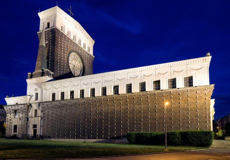 Εκκλησία της πιό ιερής καρδιάς του Λόρδου μας στην Πράγα, τσεχικό ύφασμα στοκ φωτογραφία με δικαίωμα ελεύθερης χρήσης