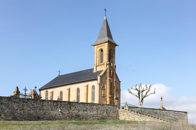 Εκκλησία της Saint Laurent δ ` Oingt Beaujolais στοκ εικόνες