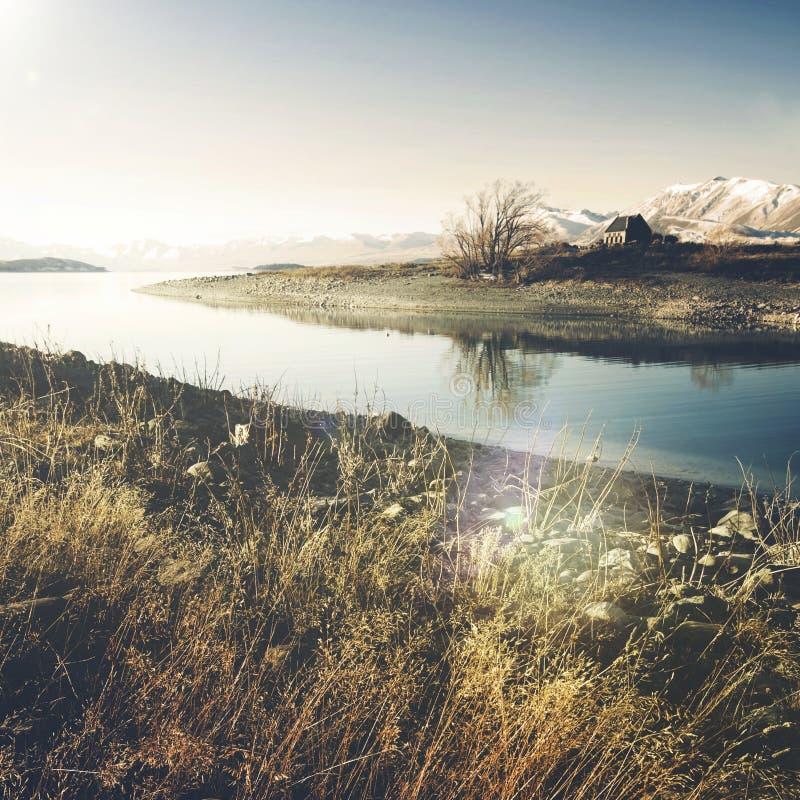 Εκκλησία του καλών ποιμένα και της λίμνης, χώρα της Mackenzie, Καντέρμπουρυ, Νέα Ζηλανδία στοκ εικόνες