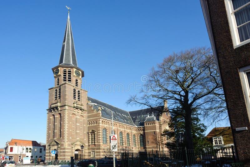 Εκκλησία του Grote Kerk στο ηλιόλουστο χειμώνα στο Hoorn της Ολλανδίας στοκ εικόνα