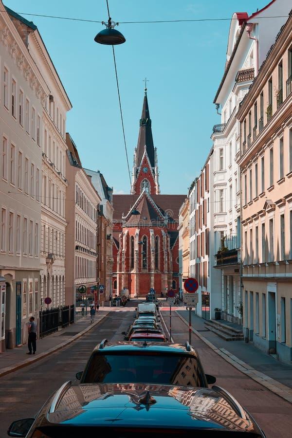 Εκκλησία του ST Elisabeth στη Βιέννη Το καμπαναριό, στοκ φωτογραφίες