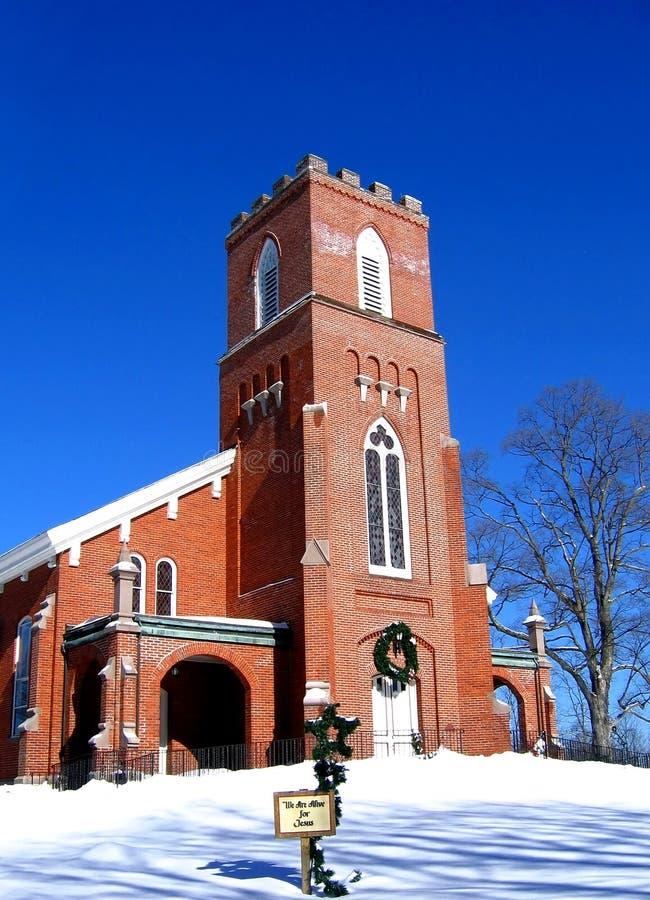 εκκλησία τούβλου που ανασχηματίζεται Στοκ εικόνα με δικαίωμα ελεύθερης χρήσης