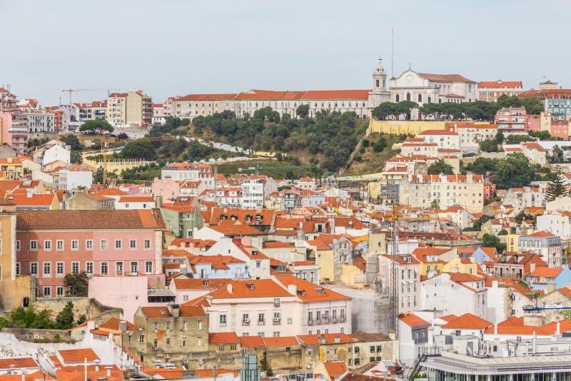 Εκκλησία graca DA και μονή και Cityview της Λισσαβώνας στοκ εικόνα