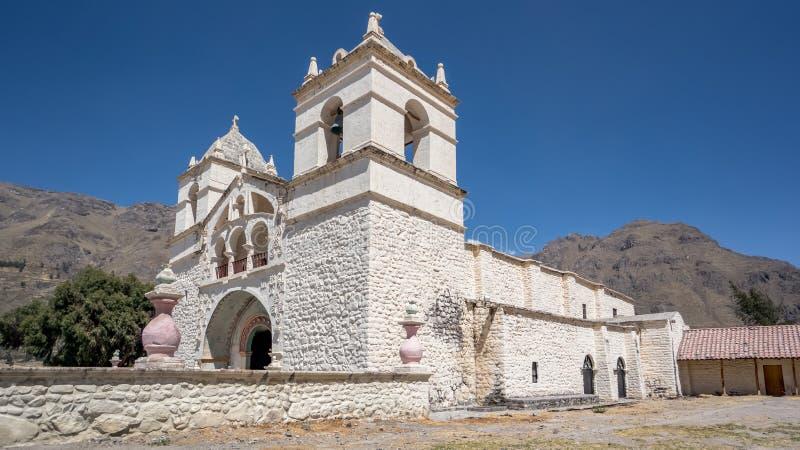 Εκκλησία Maca στην περιοχή φαραγγιών Colca Chivay, Caylloma, Περού στοκ εικόνα