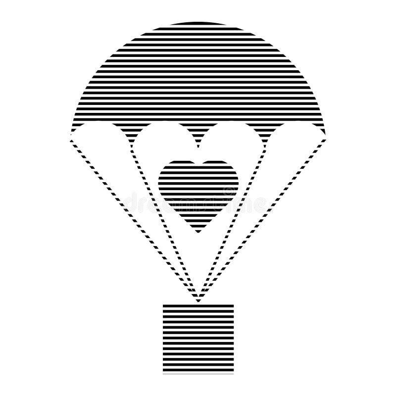 Εκκολαμμένο φορτίο εικονίδιο αλεξίπτωτων με το σημάδι καρδιών απεικόνιση αποθεμάτων