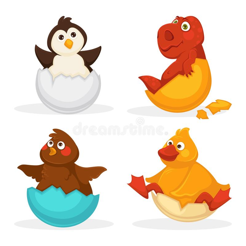 Εκκόλαψη αυγών πορτών ζώων μωρών ή κατοικίδιων ζώων κινούμενων σχεδίων Διανυσματικά οριζόντια απομονωμένα αστεία εικονίδια παιχνι διανυσματική απεικόνιση