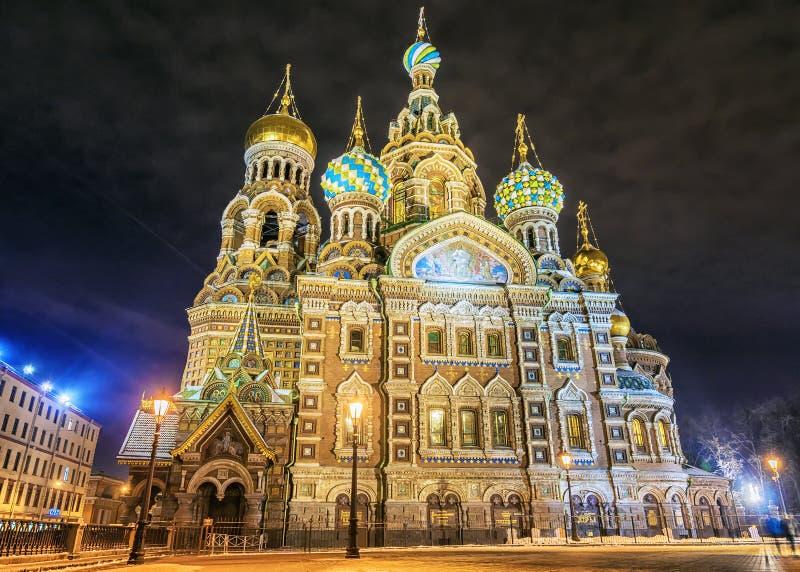 Εκκλησία άποψης νύχτας του Savior στο αίμα στο ST Petersbu στοκ φωτογραφία με δικαίωμα ελεύθερης χρήσης