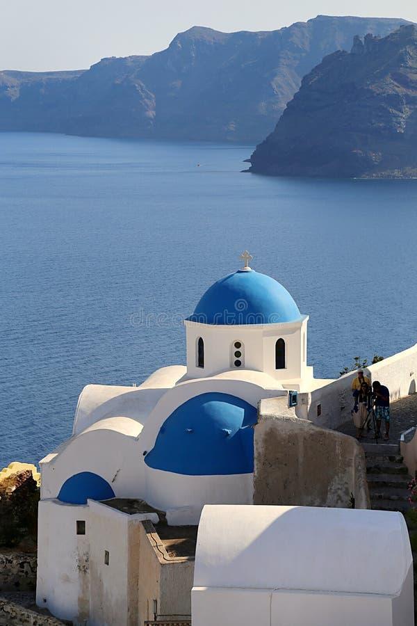 Εκκλησία αρχιτεκτονικής σε Santorini στοκ εικόνα