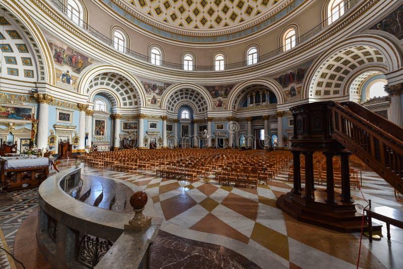 Εκκλησία εσωτερική Μάλτα θόλων Mosta στοκ φωτογραφία με δικαίωμα ελεύθερης χρήσης