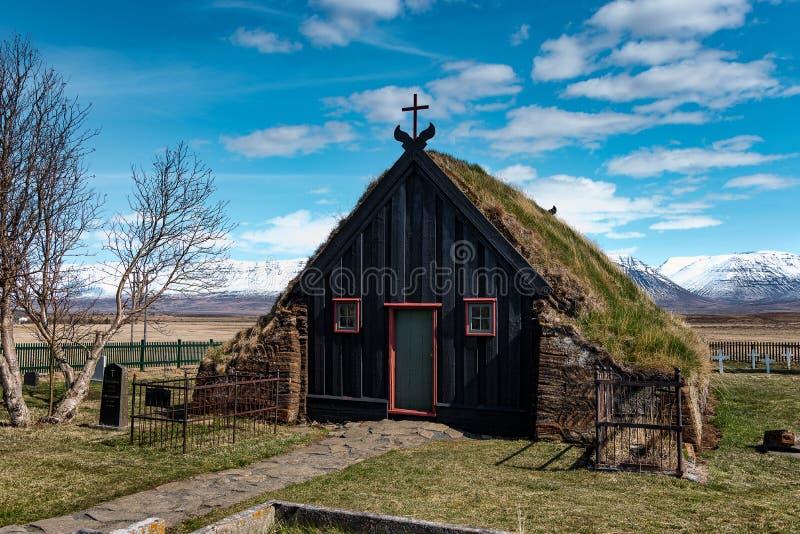 Εκκλησία Ισλανδία τύρφης Vidimyri rarkirkja VÃðimà ½ στοκ φωτογραφία με δικαίωμα ελεύθερης χρήσης