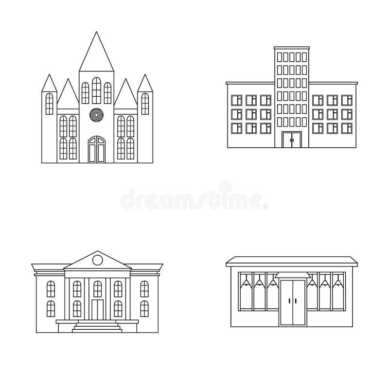 Εκκλησία, νοσοκομείο, καφές, μουσείο Οικοδόμηση των καθορισμένων εικονιδίων συλλογής στο διανυσματικό Ιστό απεικόνισης αποθεμάτων απεικόνιση αποθεμάτων