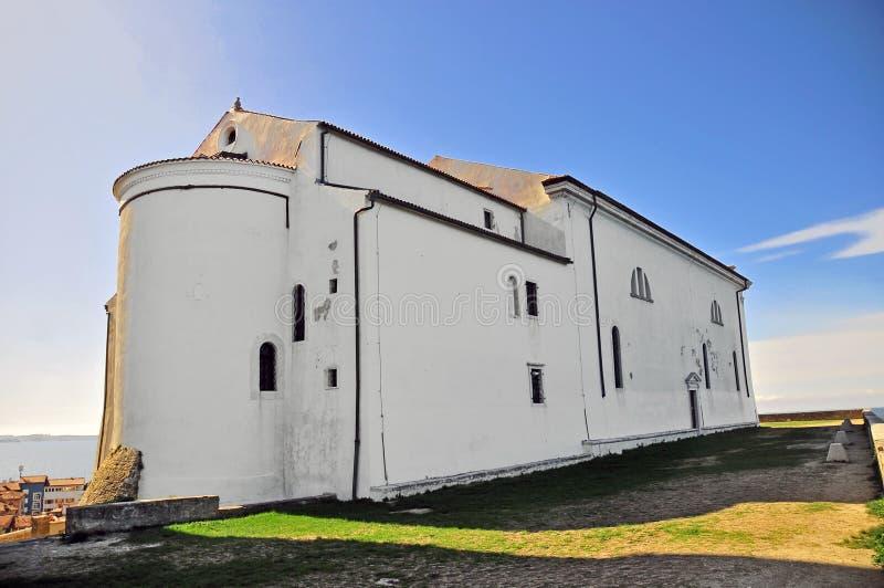 Εκκλησία ν Piran ένας λόφος στοκ φωτογραφία με δικαίωμα ελεύθερης χρήσης