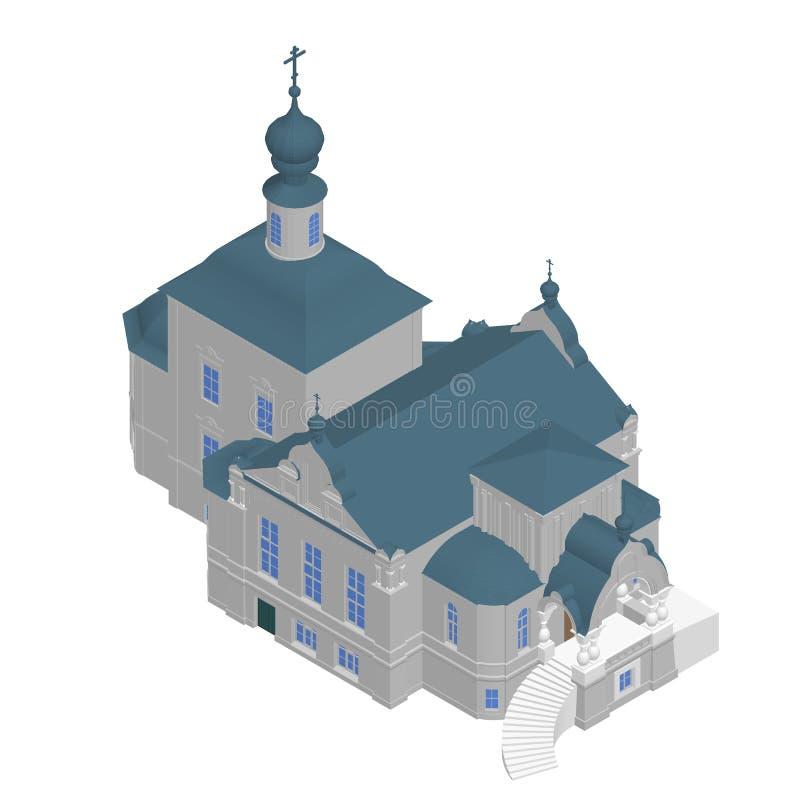 Εκκλησία που χτίζει το Isometric τρισδιάστατο εικονίδιο διάνυσμα απεικόνιση αποθεμάτων