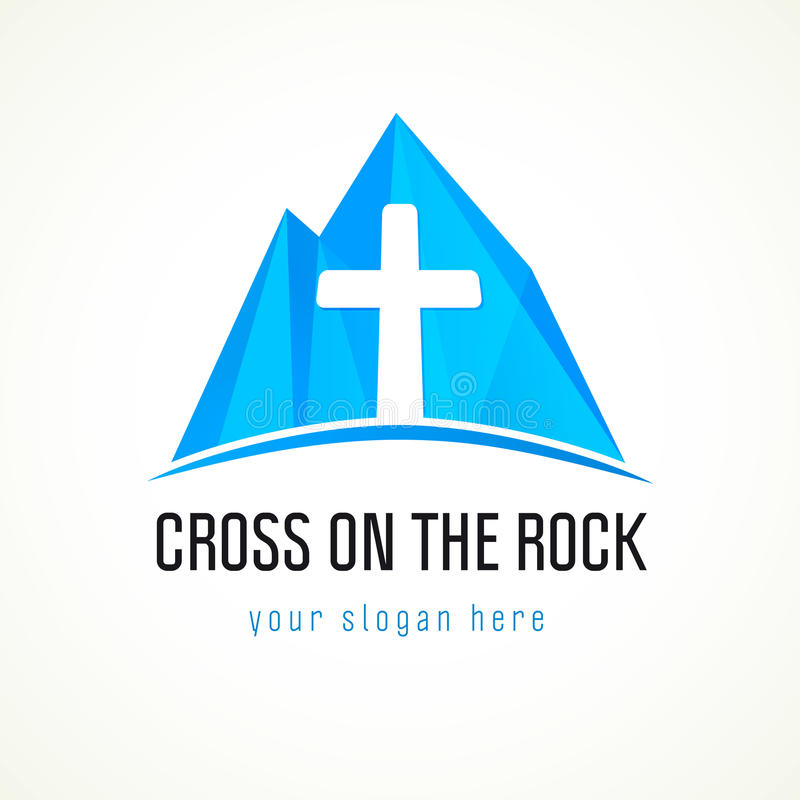 Εκκλησία στο διανυσματικό λογότυπο βουνών απεικόνιση αποθεμάτων