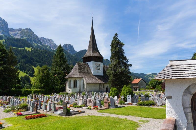 Εκκλησία στο καντόνιο Ελβετία Rougemont Vaud στοκ φωτογραφία