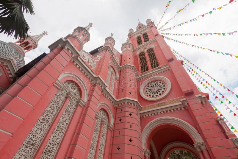 Εκκλησία της Tan Dinh - η ρόδινη καθολική εκκλησία στη πόλη Χο Τσι Μινχ, στοκ εικόνα