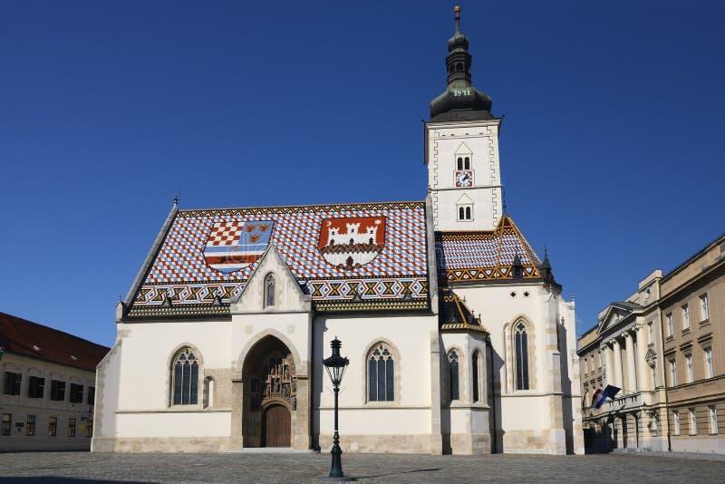 Εκκλησία των σημαδιών του ST στο Ζάγκρεμπ, Κροατία στοκ εικόνες με δικαίωμα ελεύθερης χρήσης