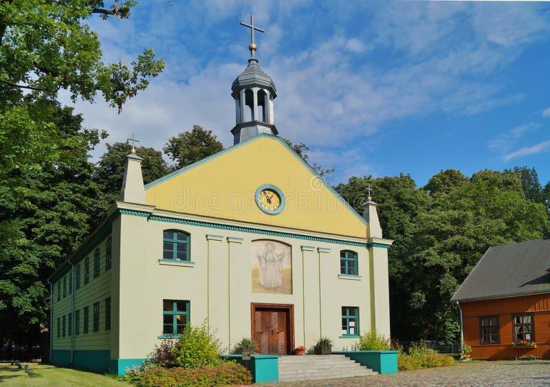 Εκκλησία, υπαίθριο μουσείο, ξύλινη αρχιτεκτονική, Λοντζ, στοκ εικόνες