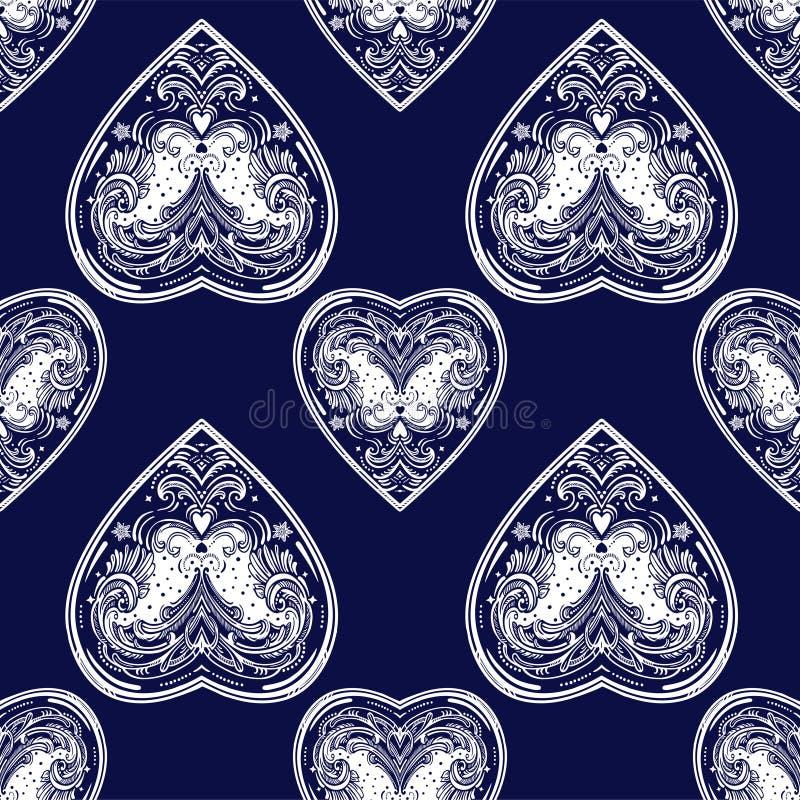 Εκλεκτής ποιότητας άνευ ραφής σχέδιο καρδιών ύφους διανυσματικό στοκ φωτογραφίες με δικαίωμα ελεύθερης χρήσης