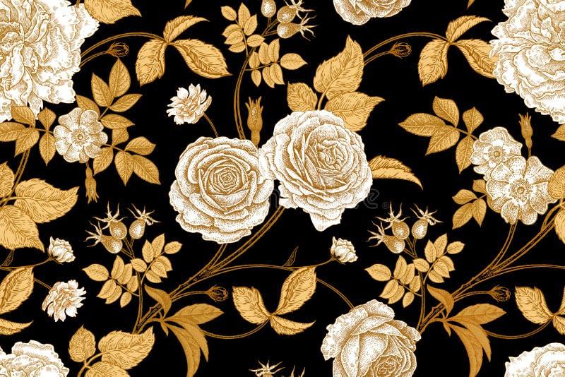 Εκλεκτής ποιότητας άνευ ραφής σχέδιο με τα ροδαλά λουλούδια απεικόνιση αποθεμάτων